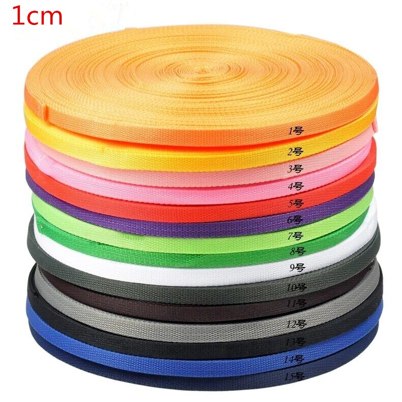 1cm*45 meters Colorful Polypropylene Webbing ribbon straps bias tapes PP Webbing for hand made sewing accessories