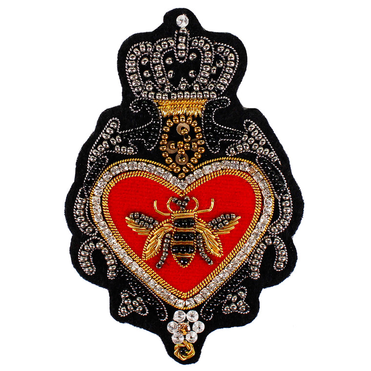 1piece Vintage Royal Indian Silk Badges Crown Bee Badges Applique Brand New Patches for Pants Clothes Decorated