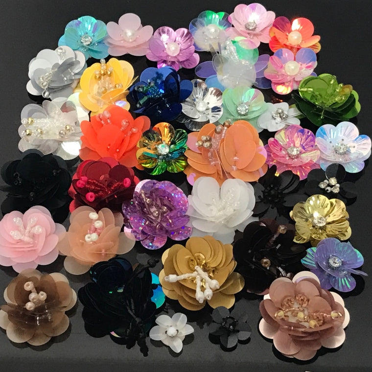 20pcs/lot Mixed Sequin Flower Patch DIY Different Colors Flower Patches Sew On Fabric Badges Sew-On Cloth Applique