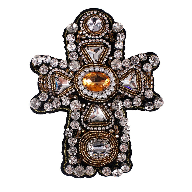 10piece Craft Beaded Crystal Rhinestones Cross Design Patches  Applique Sew on Patches Clothes Bags  Decorated DIY Sewing TH507