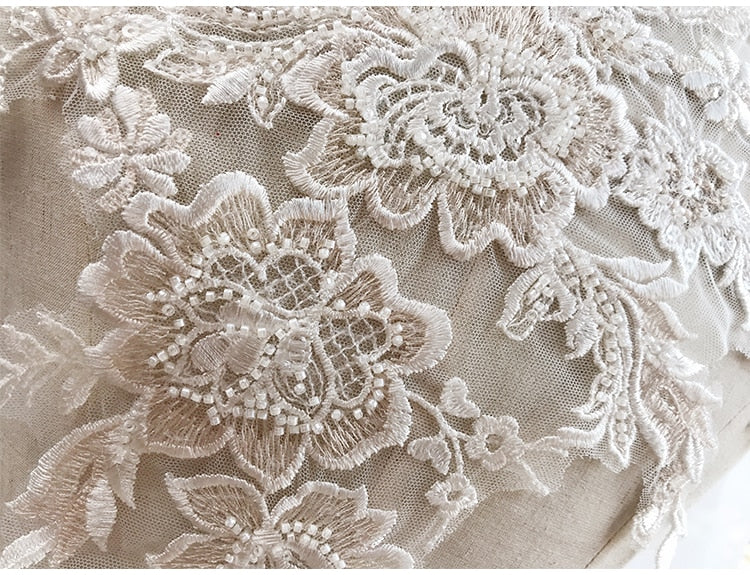 2 pieces 1 pair Large 3D Beading Embroidered Flower Lace Applique in Ivory Champagne for Bodice Veils Gown Accessories Craft DIY