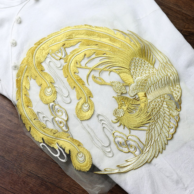 1 PCS Big Round Golden Phoenix Embroidered Patch Sew On Garment Appliques Patches for Clothes Cheongsam Wedding Dress Accessory