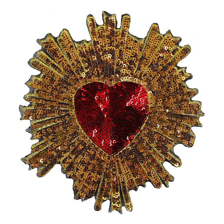 10pieces Beaded Red Gold Sequin Heart Pattern Fabric Patches Embroidery Paillette Applique Badges Clothes Decorated Sewing TH686