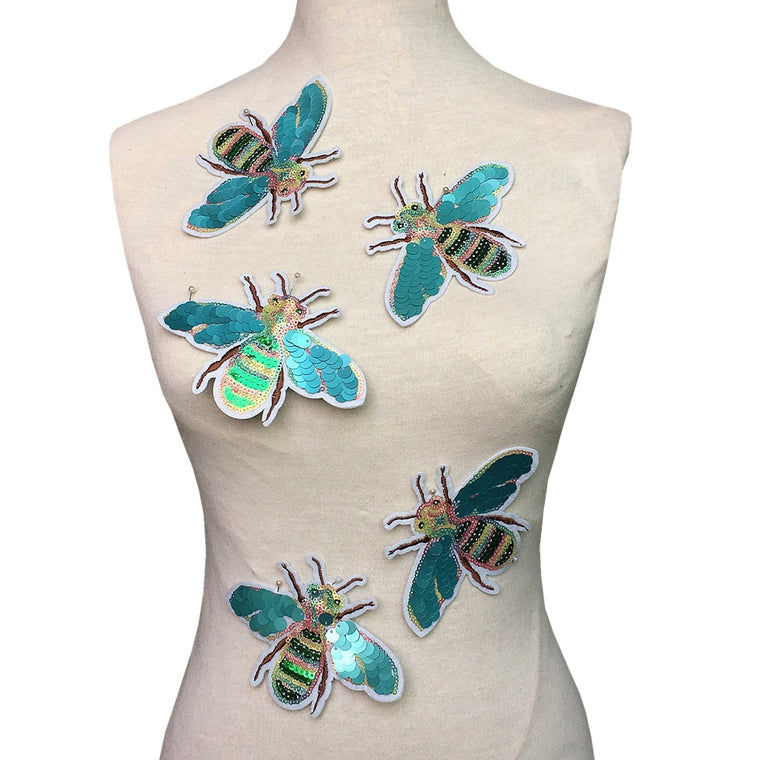 10pc Bees Sequin Embroidery Patch Beetle Embroidered Applique Beaded Patches For Clothing Appliques Parches Bordados Ropa AC1418
