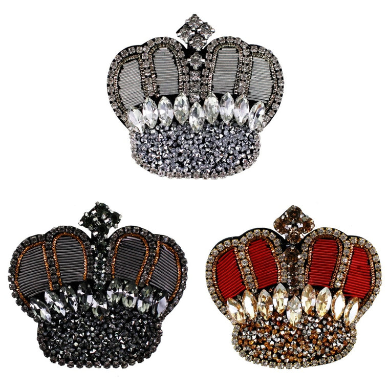 10pieces India Silk Crown Badges Embroidery Diamond Patches Handmade Rhinestones Applique Brooches Decorated Sewing TH1317