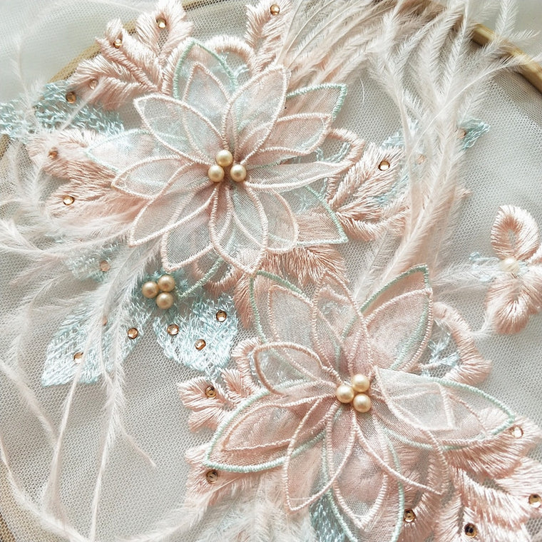 1 Set 3D pearl beaded blossom lace applique in pastel color , 3D ostrich feather lace motif patch set in 2 sizes for sewing DIY
