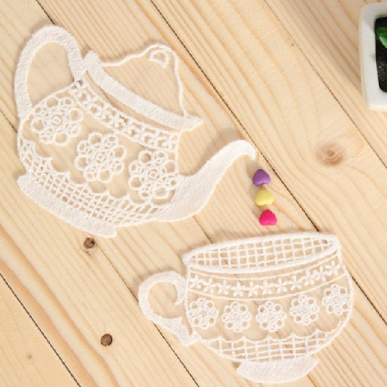 10 PCS 2 design Good Quality Handmade DIY Cotton Mesh Embroidery Teapot and Teacup Applique Patch