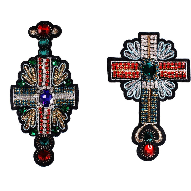 10piece Beaded Crystal Cross Embroidery Fabric Patches Diamond Motif Applique Sew on Badges for Clothes Decorated Sewing TH1015