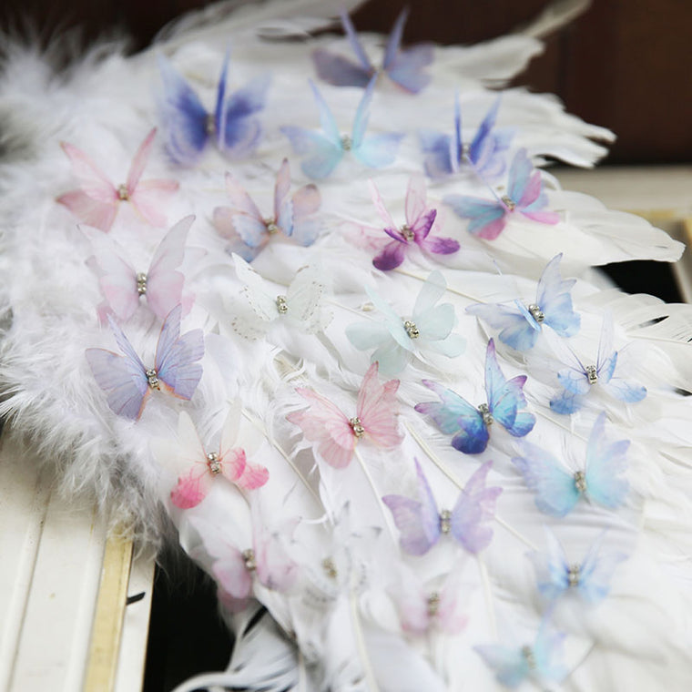 10Pcs /Lot Transparent double layer chiffon lace patch color butterfly Hairpin headdress Diy accessories bride Take pictures sew