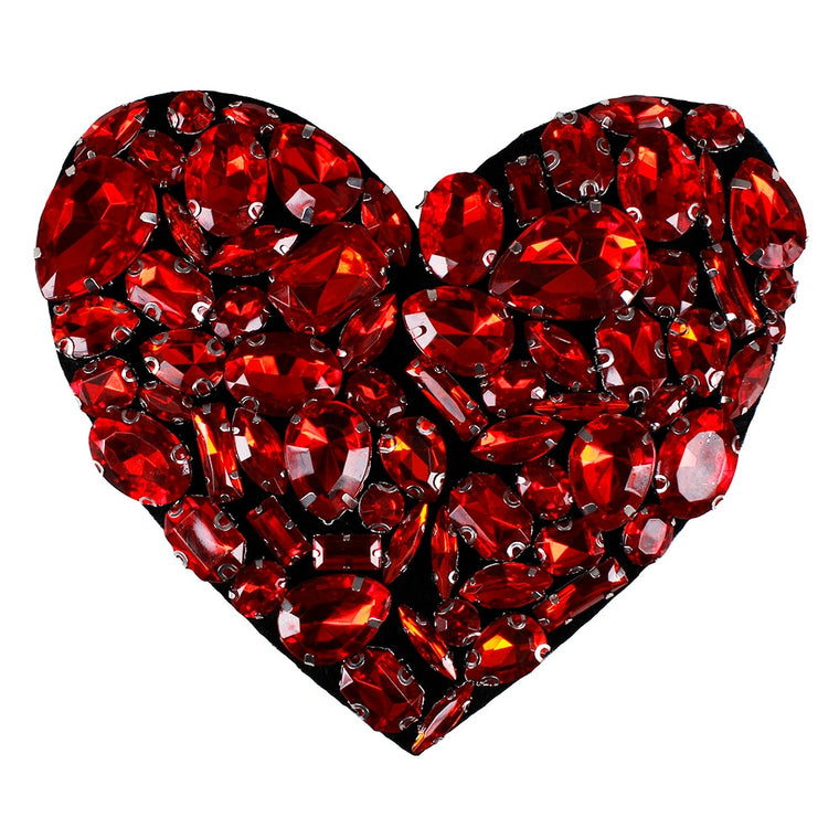 10pieces Handmade Beaded Rhinestones Red Heart Design Patches Sew on Badge Applique Clothes Bags Decorated Craft Sewing TH578