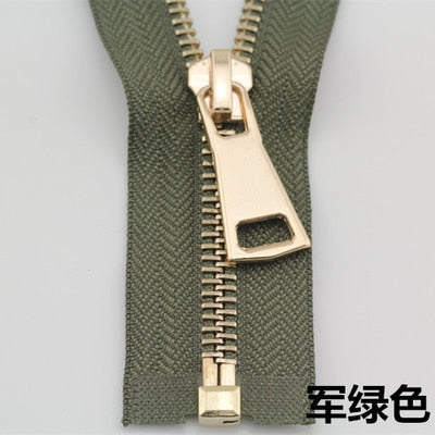 Free shipping 1pcs army green 5# metal zipper front pale gold clothes coat down jacket pull 70 cm 90 cm zipper