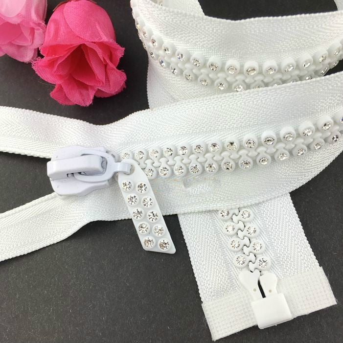 1pcs/lot #10 Length 70cm Decorative Rhinestone Zipper WHITE/Black OPEN END Resin Diamond Clothes For Sewing Accessories