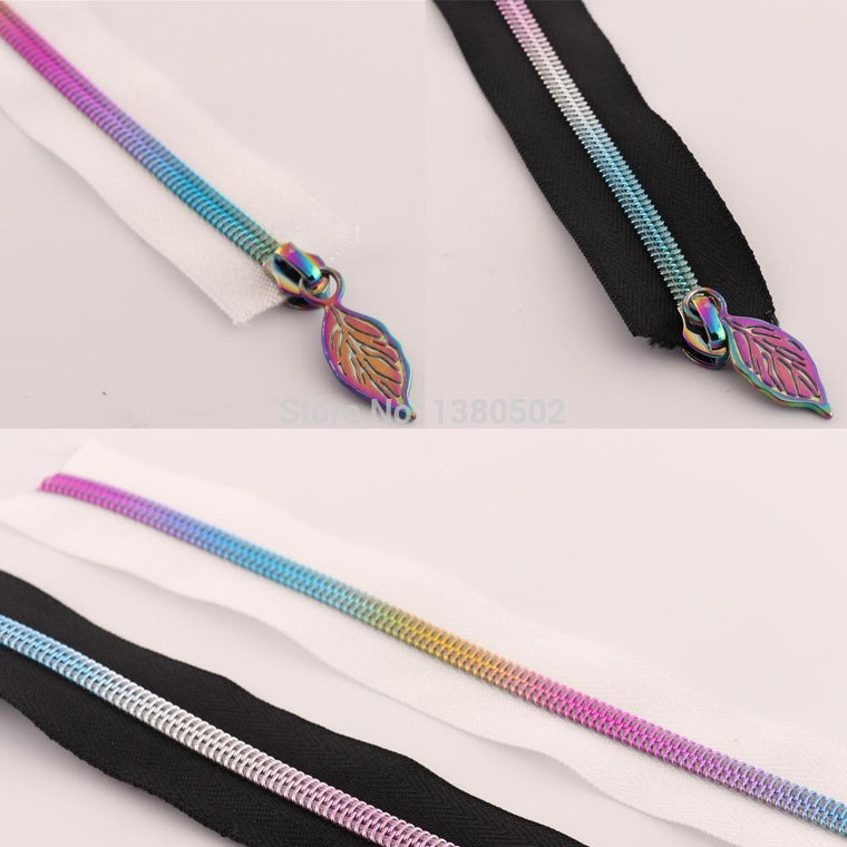 5Yards rainbow Nylon Teeth Zippers with Zipper puller Slider Sewing  Leather bag garment accessories