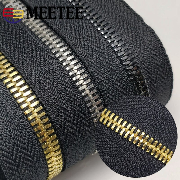 4Meters Meetee 5# Metal Zipper Without Slider Double Pull Garment Luggage DIY Zip Sewing Crafts Clothing Bags Accessories ZA201