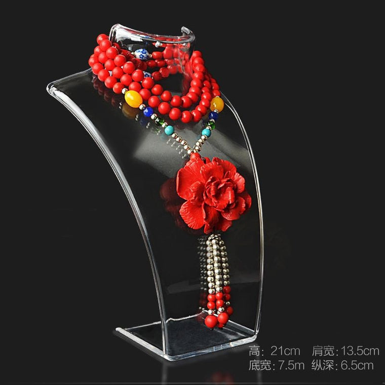 3PC Woman Abstract Mannequins Manikin Female Display Jewelry Necklace Pendant Show Decorate Jewelry Display Shelf Transparent
