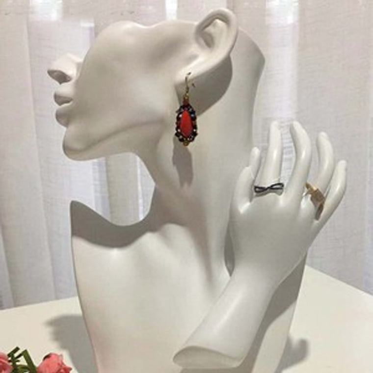 Fashion Female Mannequin Half Head And Hand Display Eardrop Necklace Jewelry Bust For Earring Resin Mold Stand White Handiwork