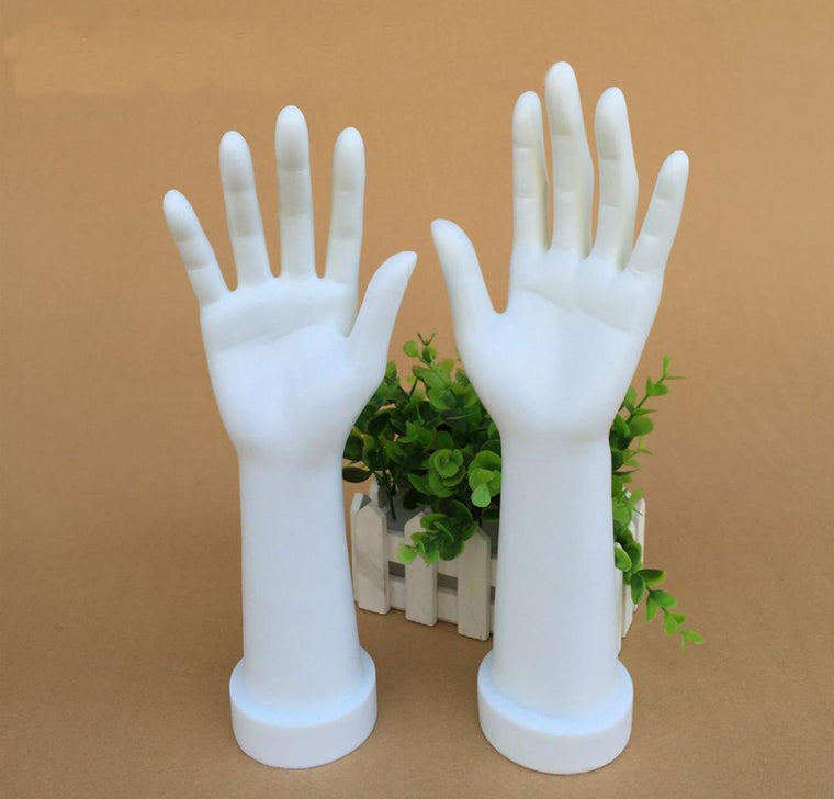 12inch 1 Pair Fashion Female Mannequin Hand Arm Base Display Gloves Jewelry Rings Women Model Five Fingers Apart Hand White