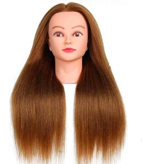 CAMMITEVER 100% Fiber Training Models Head Gold 20 inch Mannequin Head Practice Salon Hair Training Model Heads
