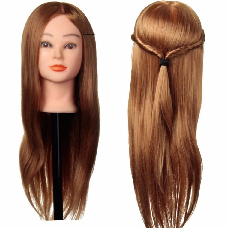 "CAMMITEVER 20"" Mannequin Head Hairdresser Training Head Manikin Cosmetology Doll Head + Clamp"