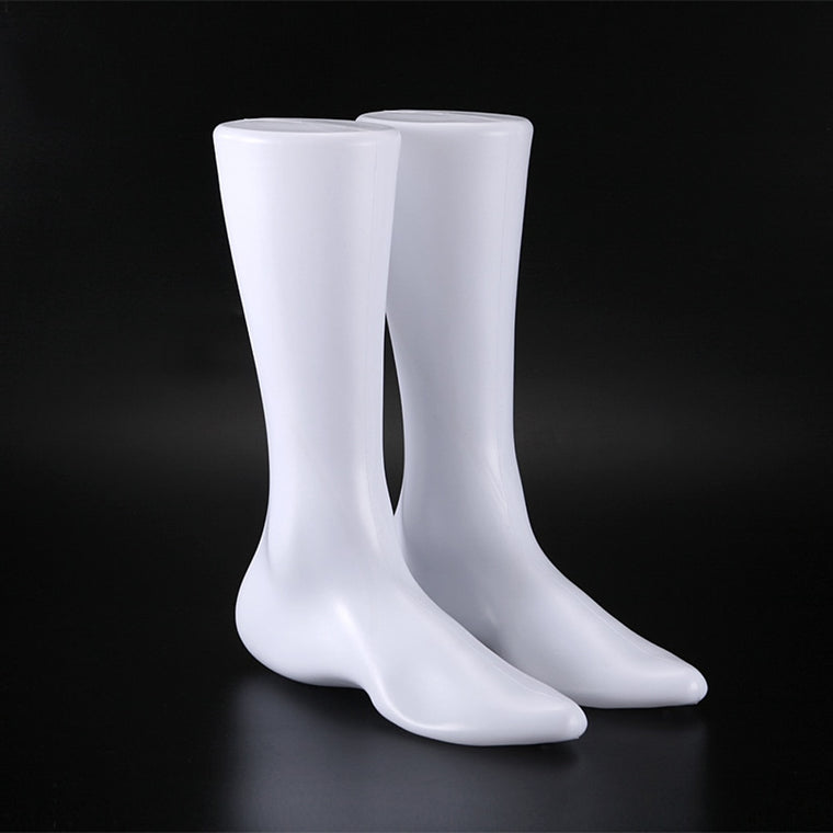 31cm Height Fashion Male Mannequin Foot Display Shooes Socks Men Flat Foot Mold Sock Mold Shoe Support 1pair  White PVC Plastic