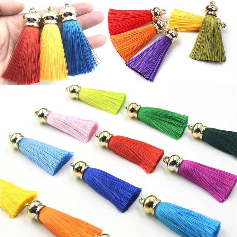 36pcs/lot 70mm Silk Tassels earrings accessories DIY craft tassel for curtain jewelry findings Keychain Cellphone Straps Pendant