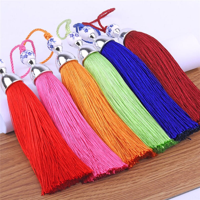15PCS/pack Deluxe Tassels Euro Style Curtain Valance Accessories Viscose Table Runner Tassel Drops 24 cm Length Big Tassels