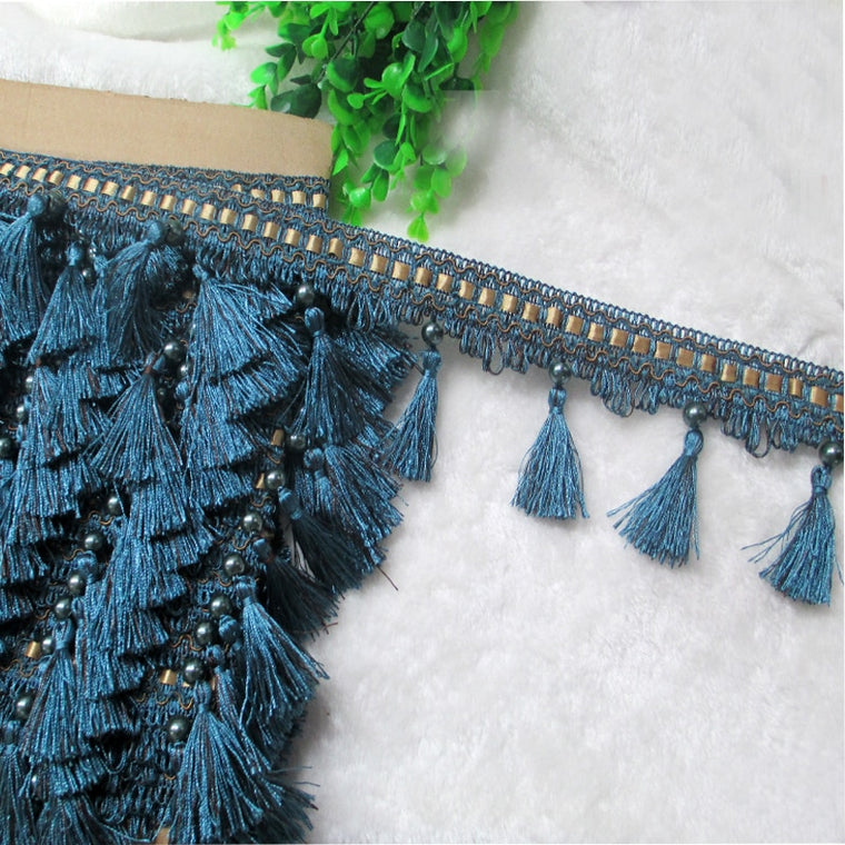 12Yard / Lot Lace Tassel Pearl lobbing fringe applique ball curtain Sofa Tablecloth accessories lace trim diy decoration fabric