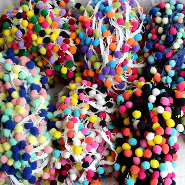 20Yard/Lot Tassel Lace Ribbon Pompom Trim Fabric DIY Sewing Garment Shoes Bag Gift Crafts Hairball Materials Accessory
