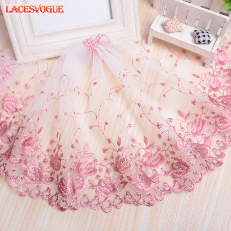 14yards 25cm Mesh embroidery lace fabric Handmade DIY Garment needlework sewing fabric Clothing accessories Curtain material 781