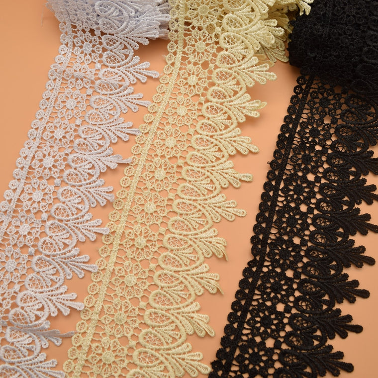 14.5yards Good quality White black beige  venice Lace trim wedding DIY crafted sewing Venise Lace trim farbric  wide:8cm