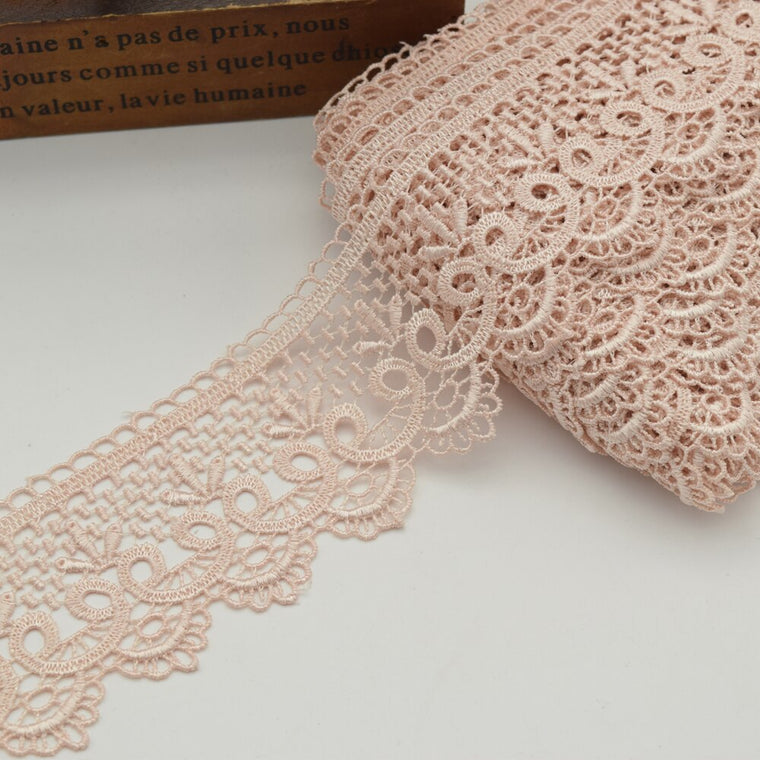 14yards pastel pink Venise Lace trim wedding DIY crafted sewing  6cm