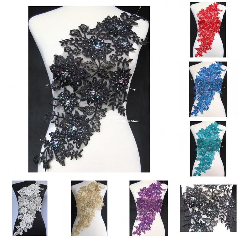 1pc x Handmade 7Colors(Black Red Purple Teal Blue Gold+)Sequin Beaded 3D Flower Embroidery Lace Appliques Collar Neckline BNC107