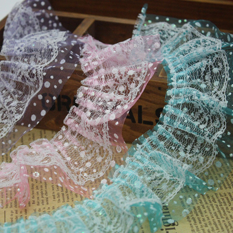 25yards/lot 6cm width Printed Ribbon Lace Fabric Ruffle Trim For Headband Girls Hair Doll/Shoes/Hat/Wedding DIY material