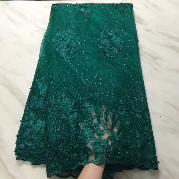 2019 African Cord Lace High Quality French Lace Fabric With Stones Beaded Green African Lace Fabric For Nigerian Wedding Dress