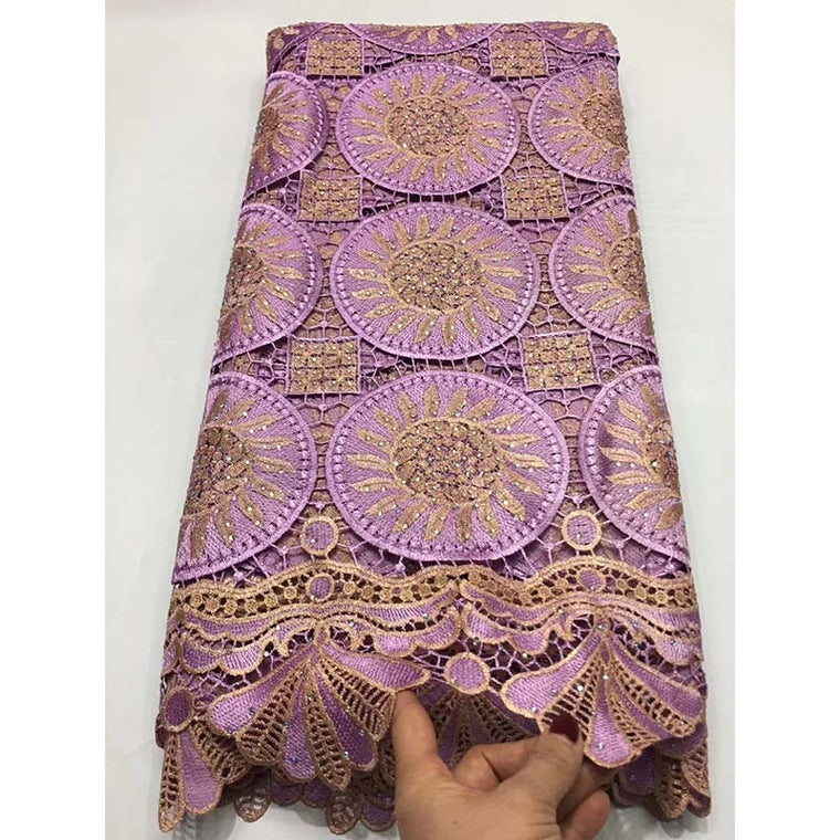 High Quality Embroidery French Lace Fabric African Guipure Swiss Voile Lace Fabric Nigerian Stones Voile Lace Wedding Materials