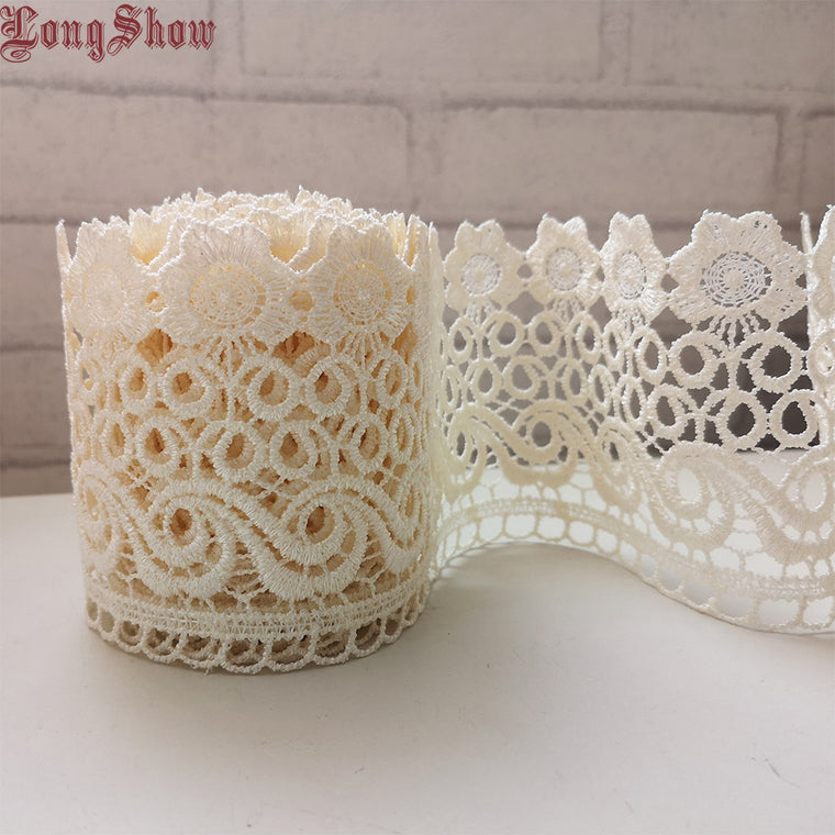 1 Lot/15 Yards 9cm Beige Color Polyester Creative Design Flower Embroidered Lace Apparel Decorative Sewing Lace Border