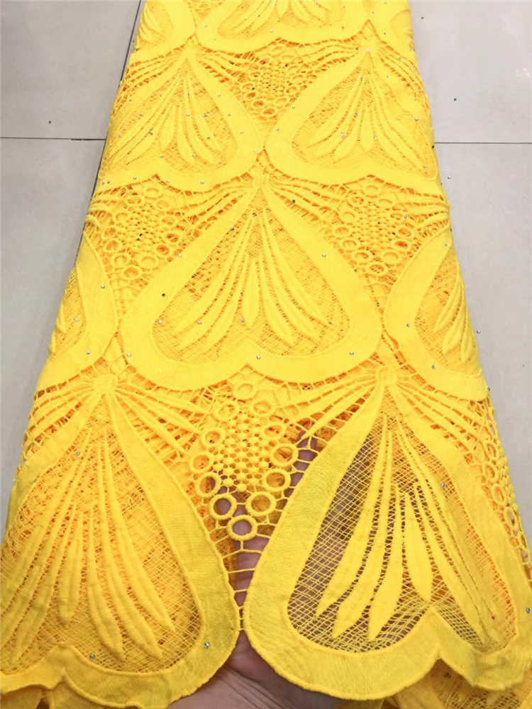 Factory offers high quality latest African Guipure cord Lace With stones Fabric For Nigerian2020Party Dresses Yellow