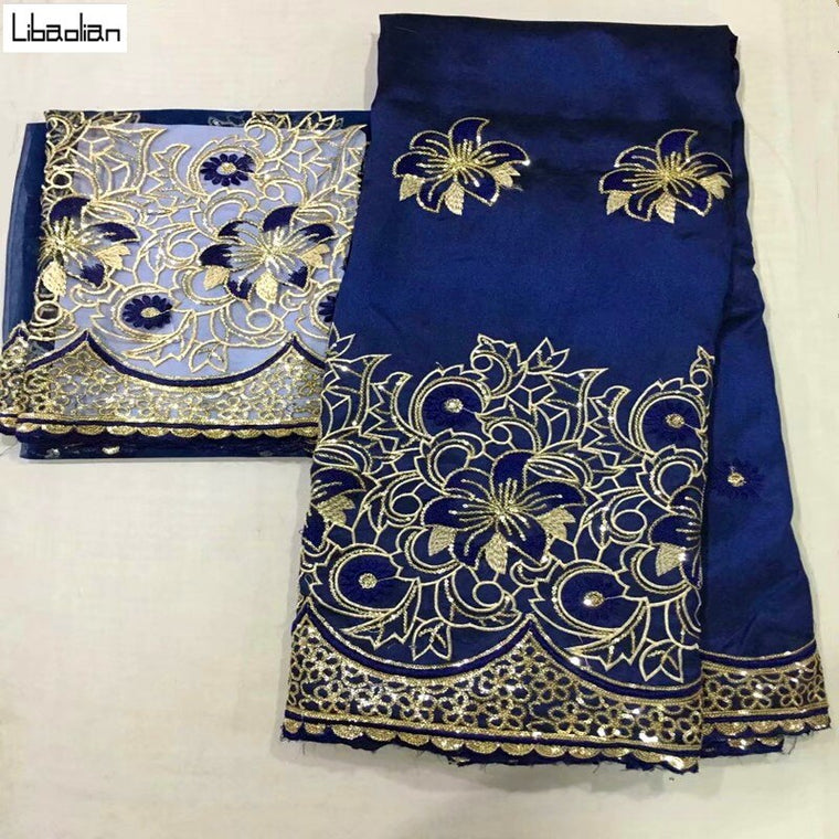 Deep Blue George Lace Fabric With Blouse 5+2Yards Sets For Evening Dress Nigerian Embroidery Guipure George Lace Fabric E911-28