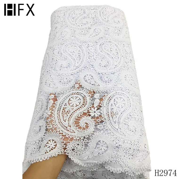 HFX Nigerian Guipure Cord Lace Fabric Embroidery 2019 High Quality Lace White African Cotton Lace Fabric for Wedding Dress F2974