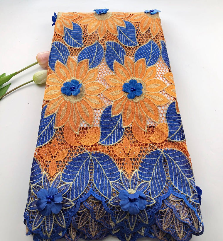 African Guipure lace fabric high quality Orange+Blue Water soluble fabric Nigerian 3D Applique laces for wedding dress