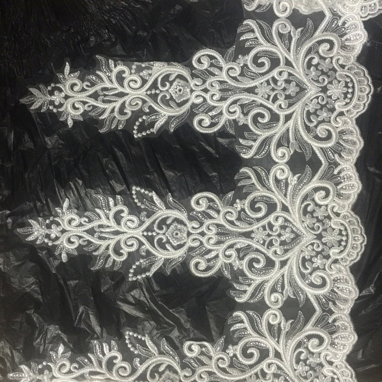 54cm top quality off-white embroidery lace trim with transparent sequins,XERY191025A