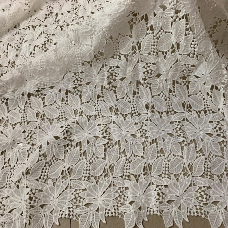 1yard Latest African White Flower Embroidery Guipure Lace Fabric 2019 High Quality Nigerian Cord Lace Fabric For Wedding Dresses