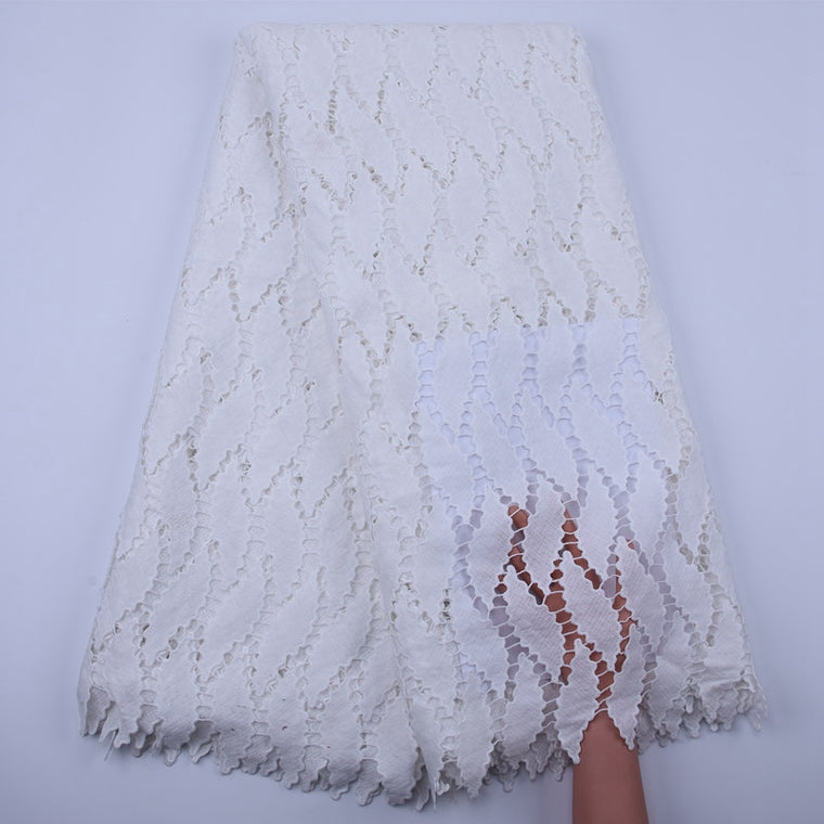 Classic Fashion White Guipure Lace Soft Cotton African French Cord Lace High Quality Nigeria Swiss Voile Lace Fabric S1835