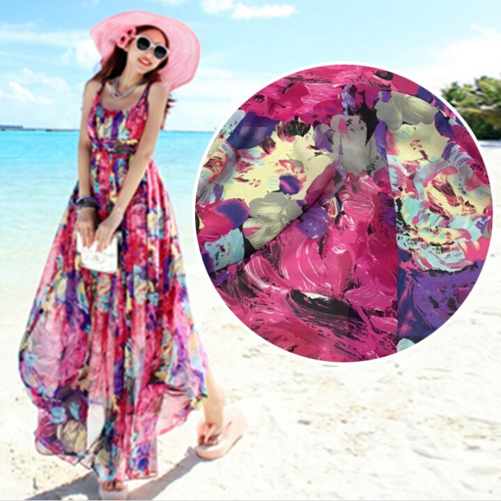Big flower color printing chiffon fabric printing fabric dress Bohemia holiday dress high-grade dress