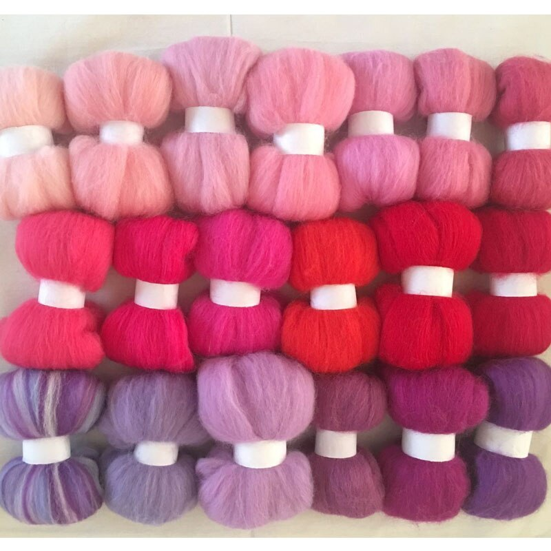 WFPFBEC wool for felting 190g 19colors 10g/color