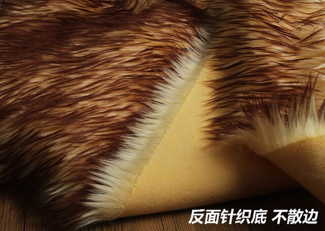 Beach wool fox fur faux plush fur fabric for winter coat pillow case vest Fur collar 5cm long hair plush fur tissu telas