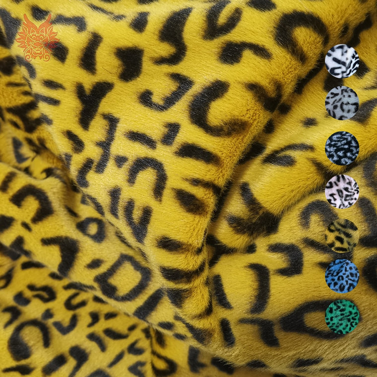 7 color 1cm long leopard tiger skin faux fur fabric for winter coat vest cosplay stage newborn photography 160*45cm SP5725