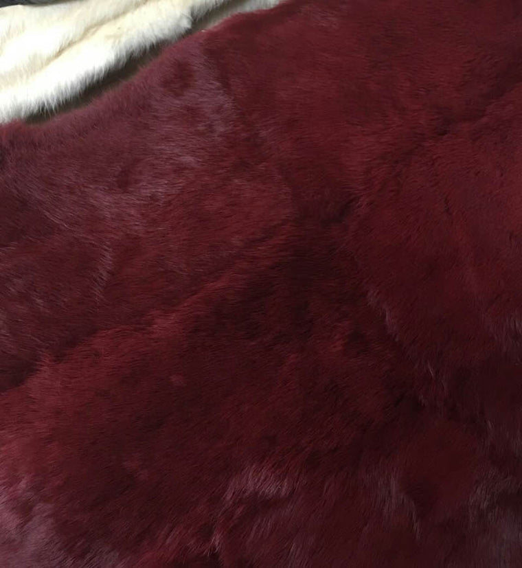 Dyed plate genuine wine red rabbit fur 50CM*110CM piece