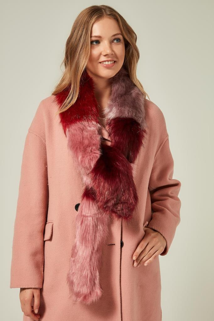 11252 Pink Bordolu Fur Scarf