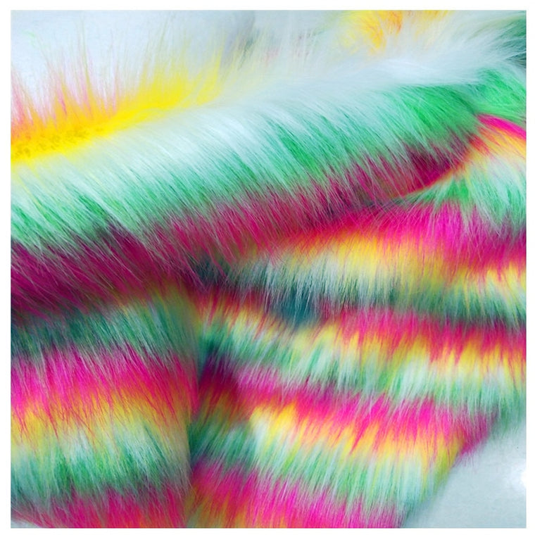 160*100cm jacquard rainbow rabbit falling hair plush faux fur fabric for coat pillow case vest Fur collar plush fur tissu telas